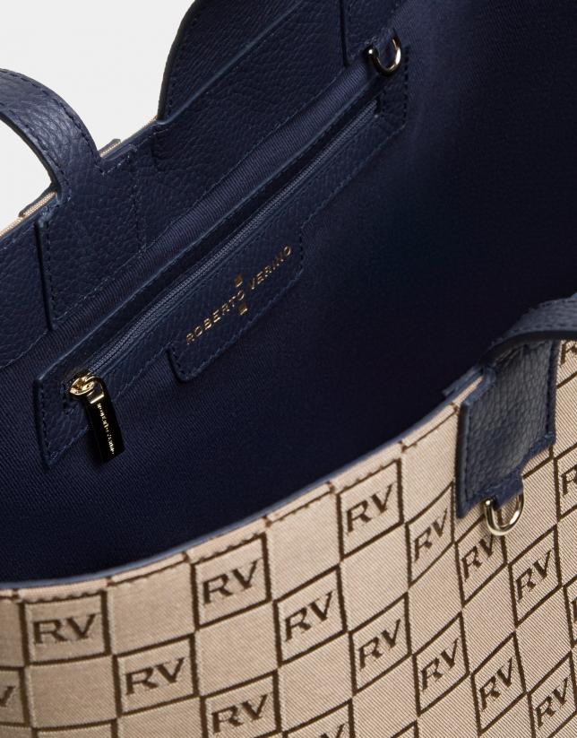 Bolso Uve shopping lona RV con piel azul