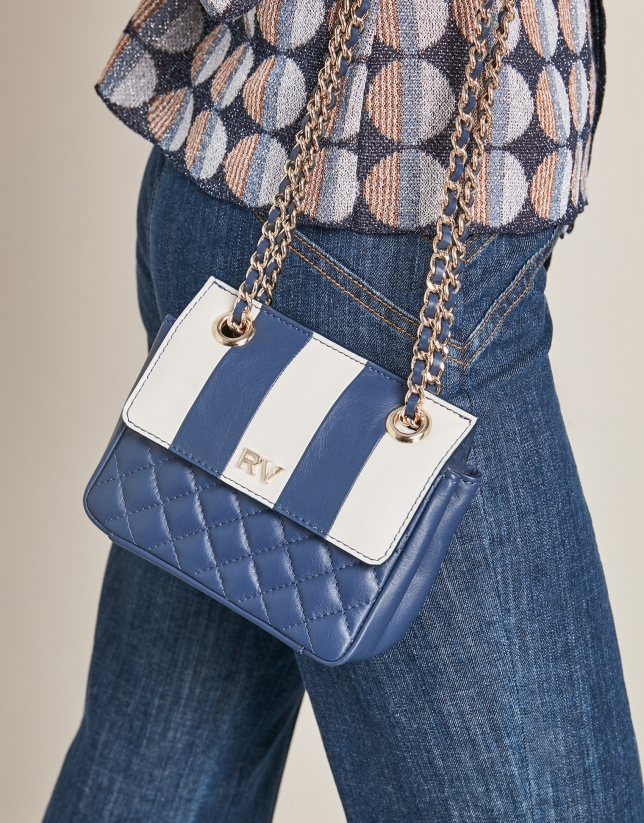 Blue Ghauri Nano quilted shoulder bag