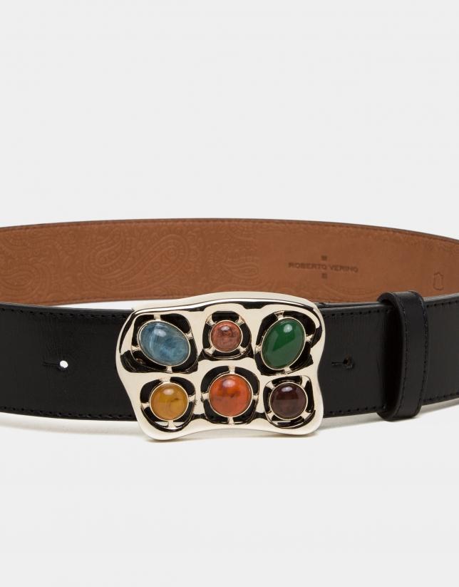 Black satiny-finished cowhide belt