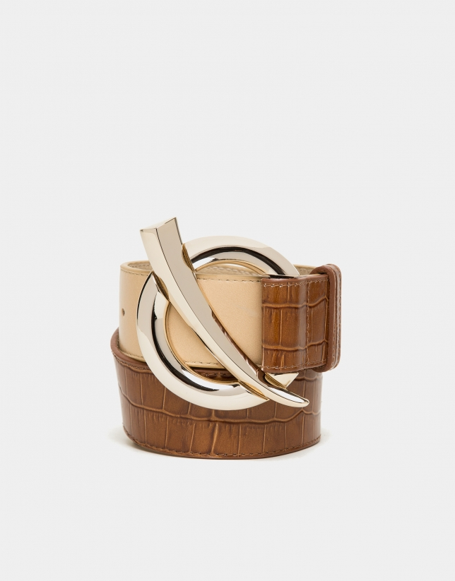Alligator and camel embossed leather belt