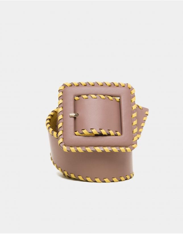 Camel leather backstitched belt