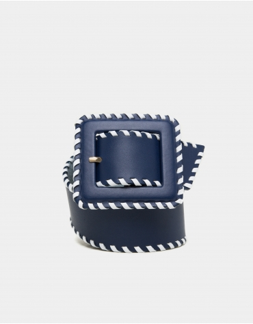 Navy blue leather back stitched belt