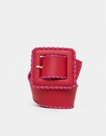 Red leather backstitched belt