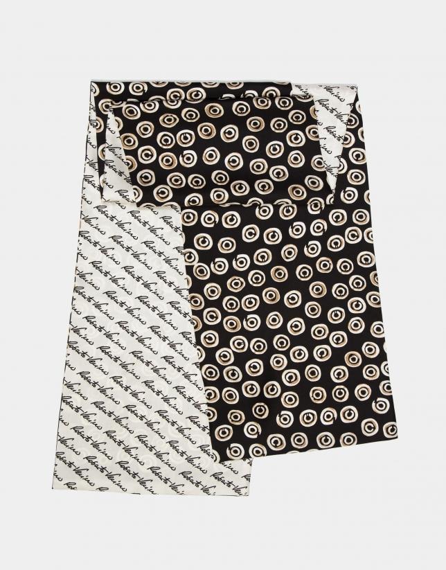 Pañuelo reversible seda estampado firmas/geométrico