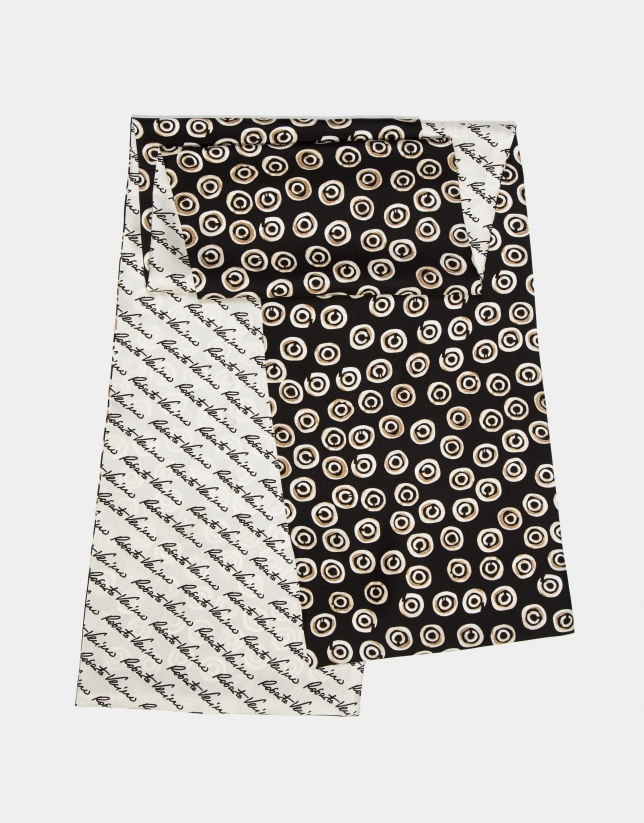 Reversible print silk signature scarf with geometric print