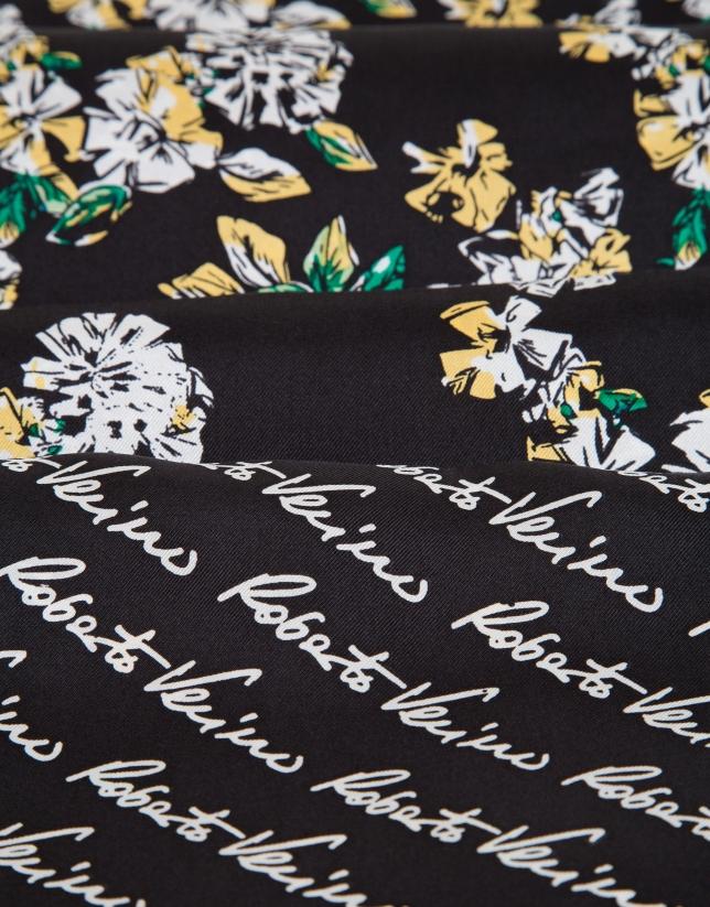 Pañuelo reversible seda estampado firmas/flores