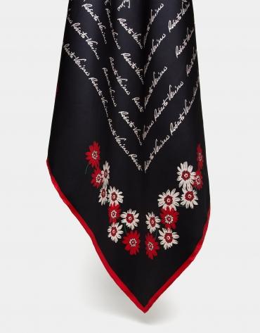 Foulard en soie noir imprimé de fleurs et de signatures