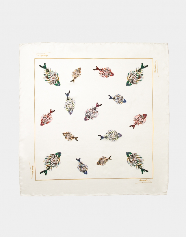 Beige silk scarf with fish print