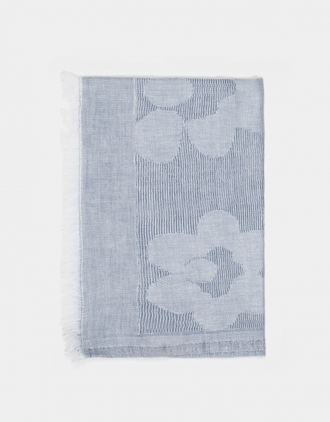 Chal jacquard floral azul