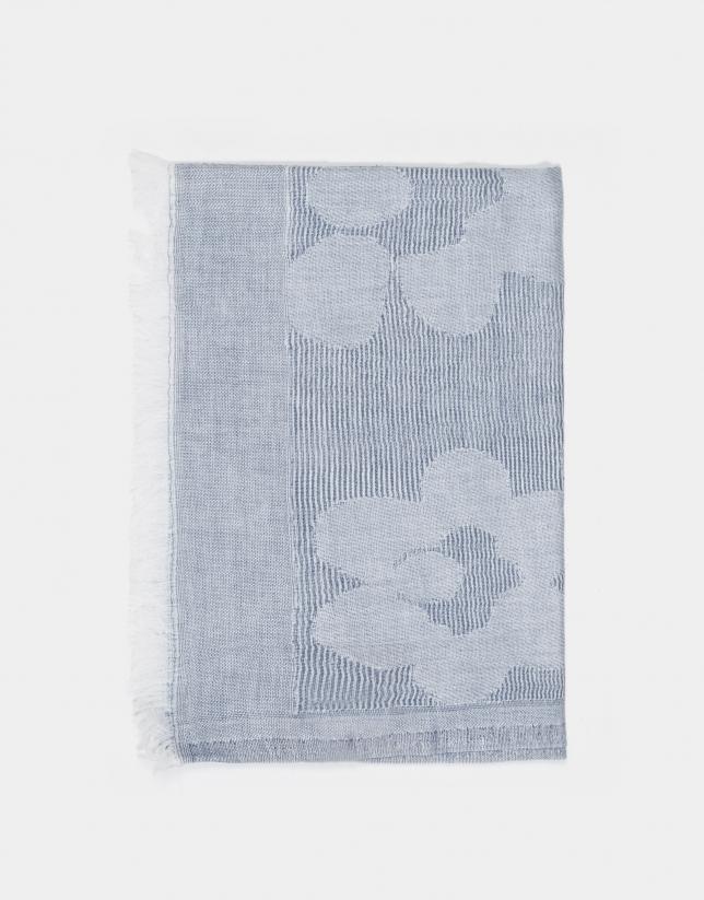 Châle à jacquard floral bleu