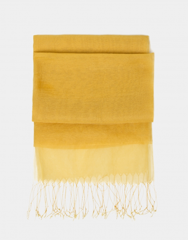 Gold double layer organza scarf