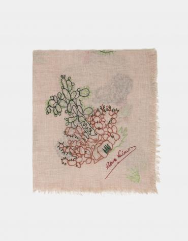 Pañuelo fondo blanco con bordado cactus