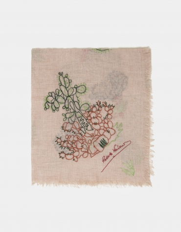 White scarf with embroidered cactus design