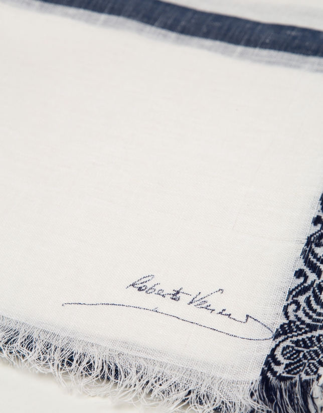 Blue silk and linen geometric jacquard scarf