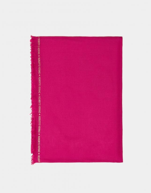 Foulard liso rosa con remate de logos