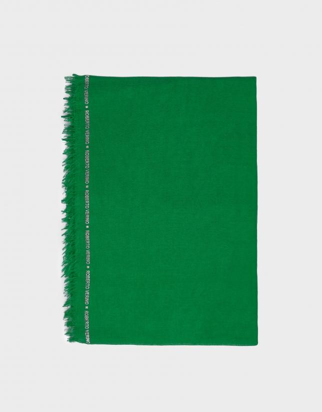 Foulard liso verde con remate de logos