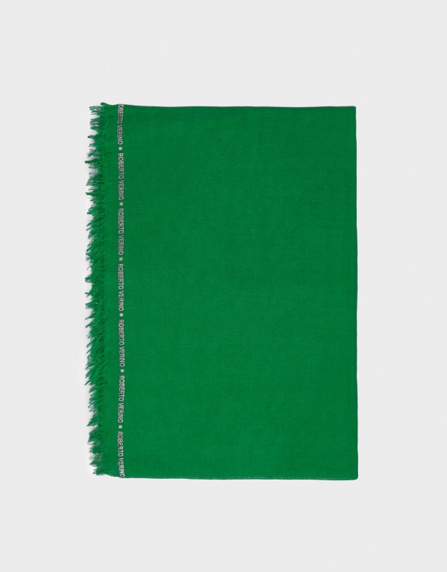 Plain green scarf with logos
