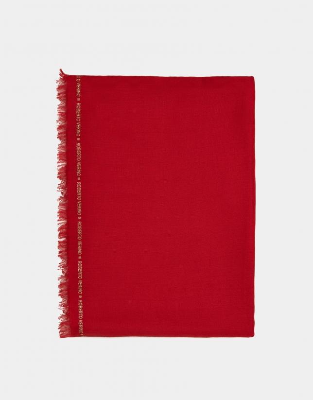 Foulard liso rojo con remate de logos