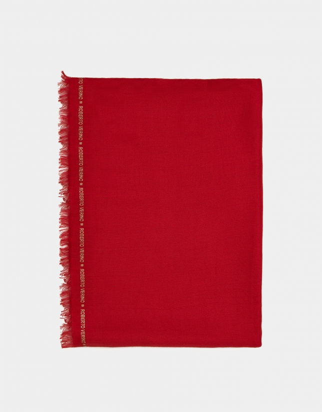 Plain red scarf with logos