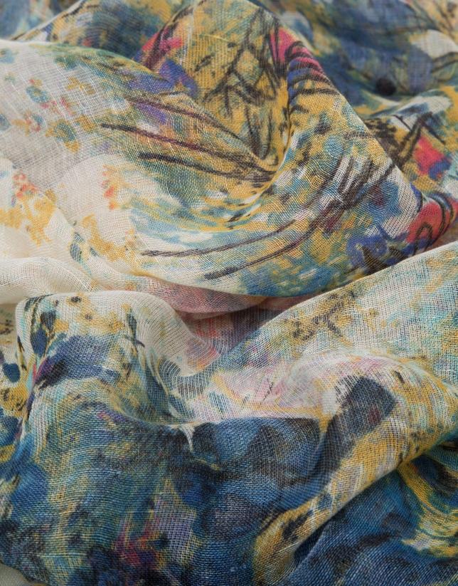 Etole en lin/laine/soie imprimé floral en bleu et jaune