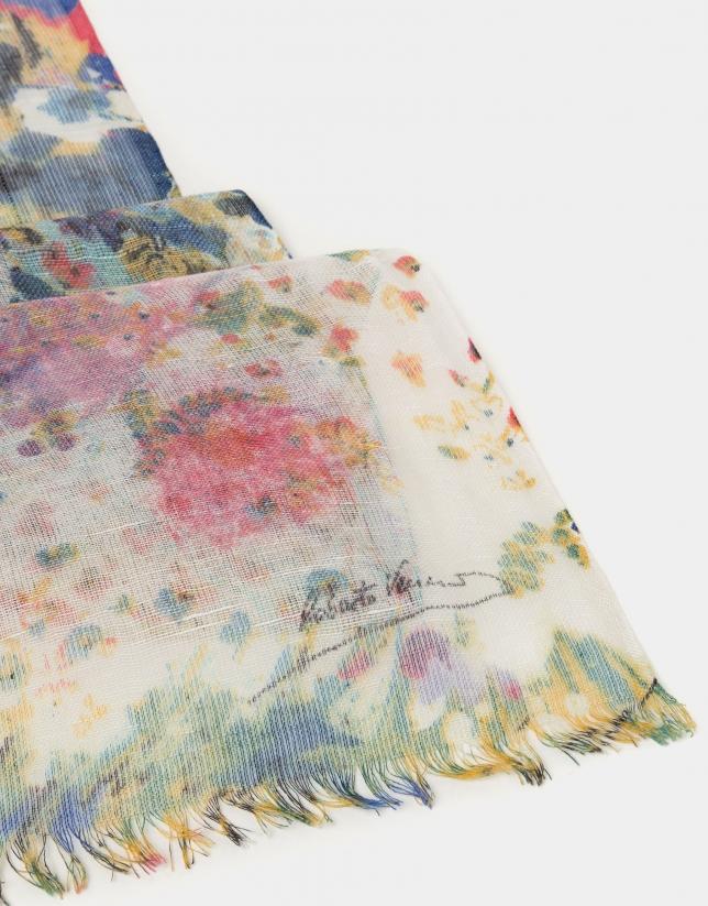82101413 Foulard lino/lana/seda estampado floral azul ... | Roberto Verino