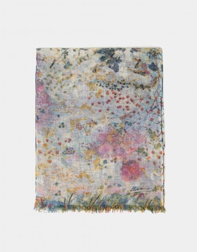Foulard lino/lana/seda estampado floral azul y amarillo