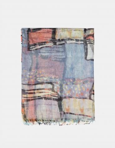 Foulard lino/lana/seda estampado floral azul y malva