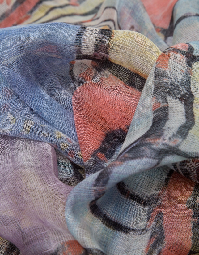 Blue and mauve floral print linen/wool/silk scarf