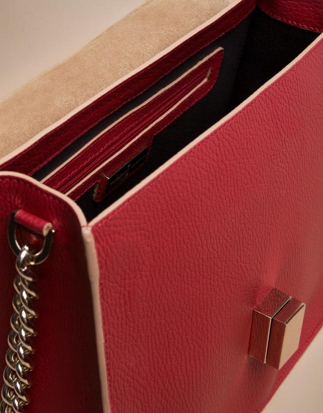 Sac style docteur Gazel Mega en cuir rouge et croûte de cuir