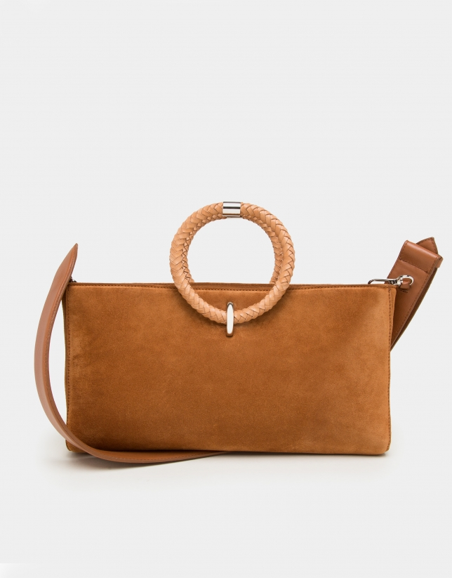Brown napa leather Kharan shoulder bag