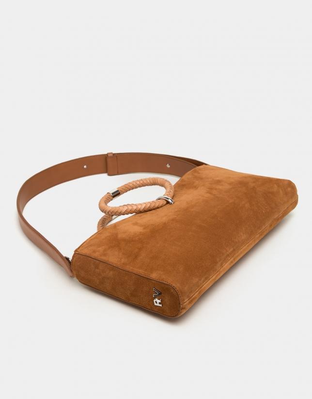 Sac porté épaule Kharan en cuir nappa marron