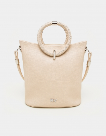 Beige napa leather Marina shoulder bag