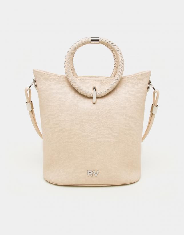 Beige napa leather Marina shoulder bag