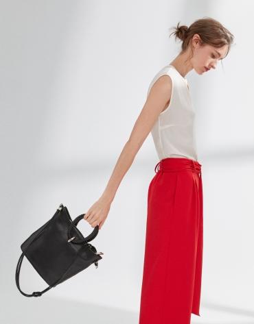 Black napa leather Marina shoulder bag