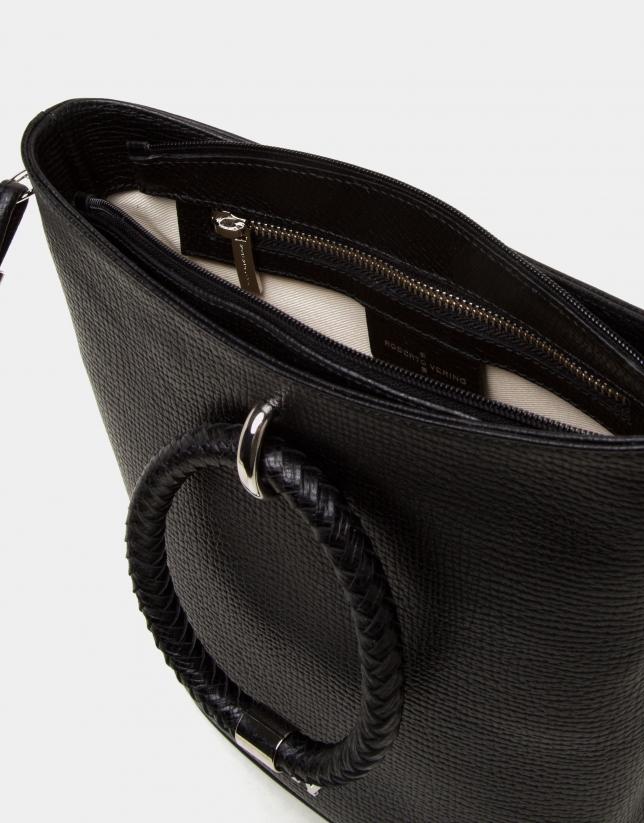 Sac porté épaule Marina en cuir nappa noir