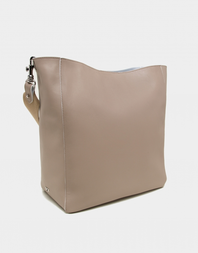 Camel leather Montparnasse shopping bag