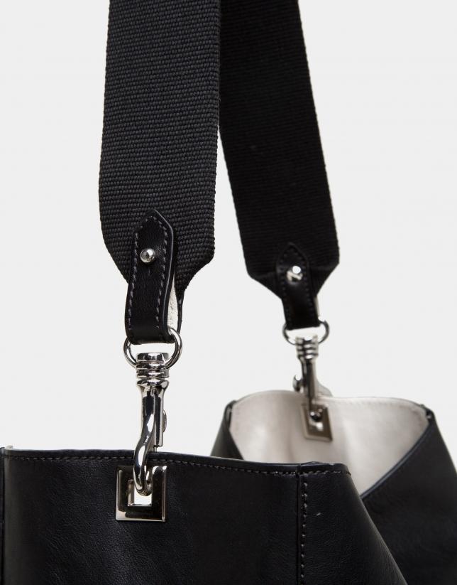 Black leather Montparnasse shopping bag