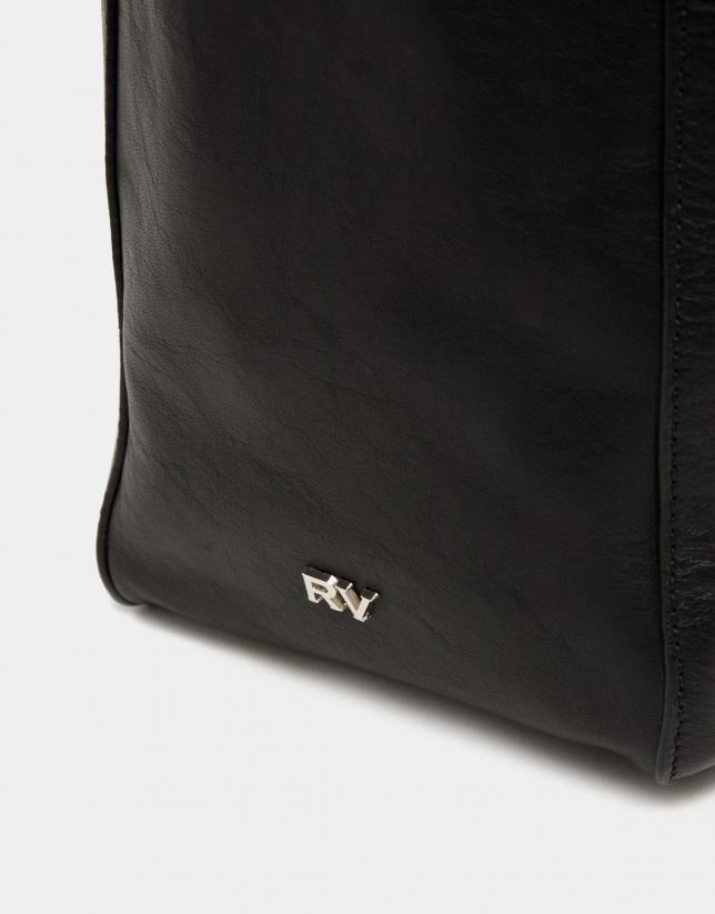 Cabas Montparnasse en cuir noir