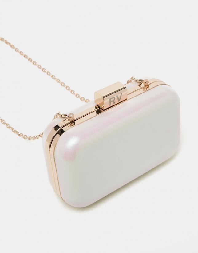 Bolso clutch piel perla Rose
