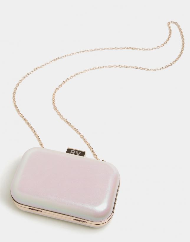 Pochette en cuir Rose couleur perle