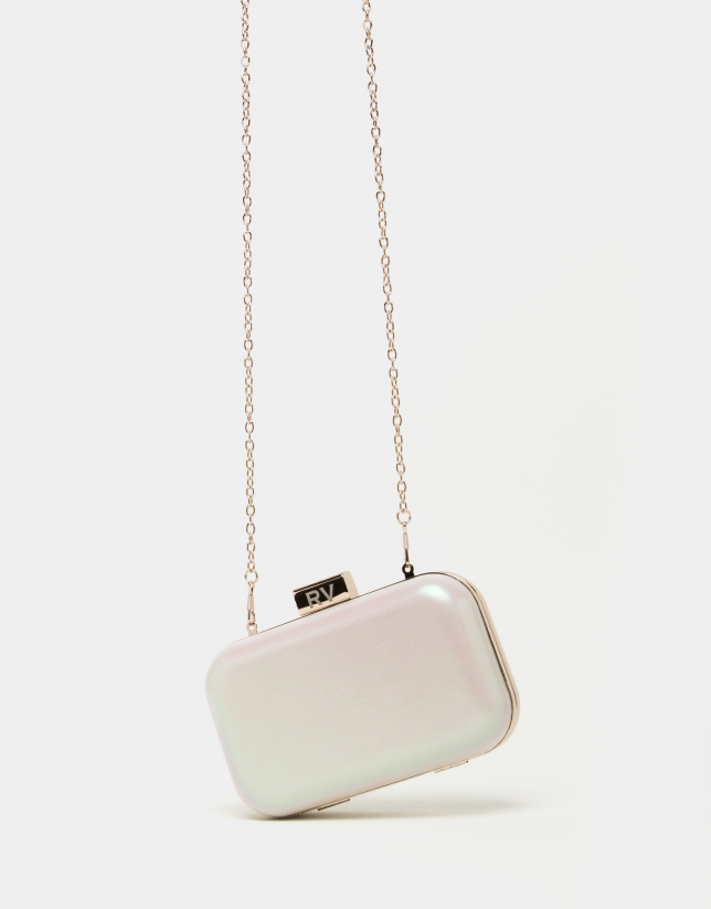 Pearl leather Rose clutch bag