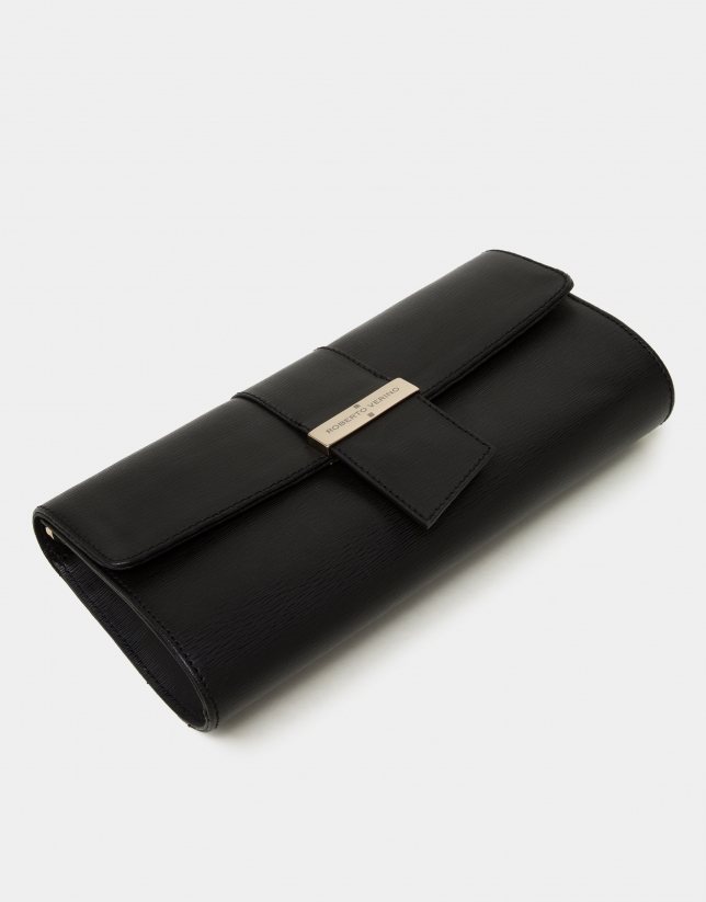 Black texturized napa Paris briefcase