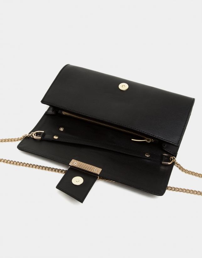 Sac pochette Paris en cuir nappa texturisé noir