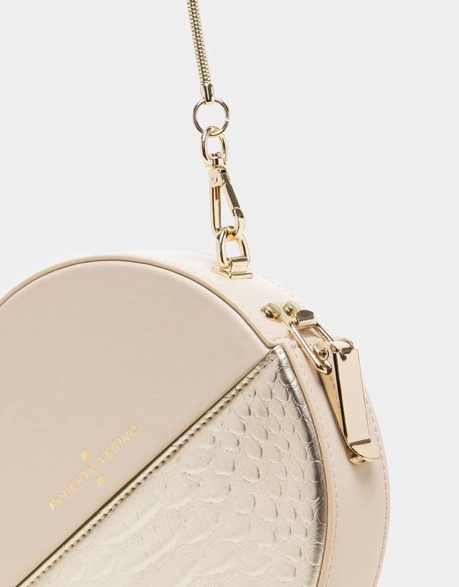 Round alligator embossed Cookie bag with Gold Chiaro