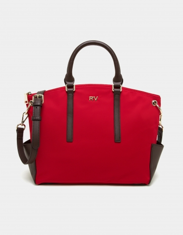 Red nylon shopping bag