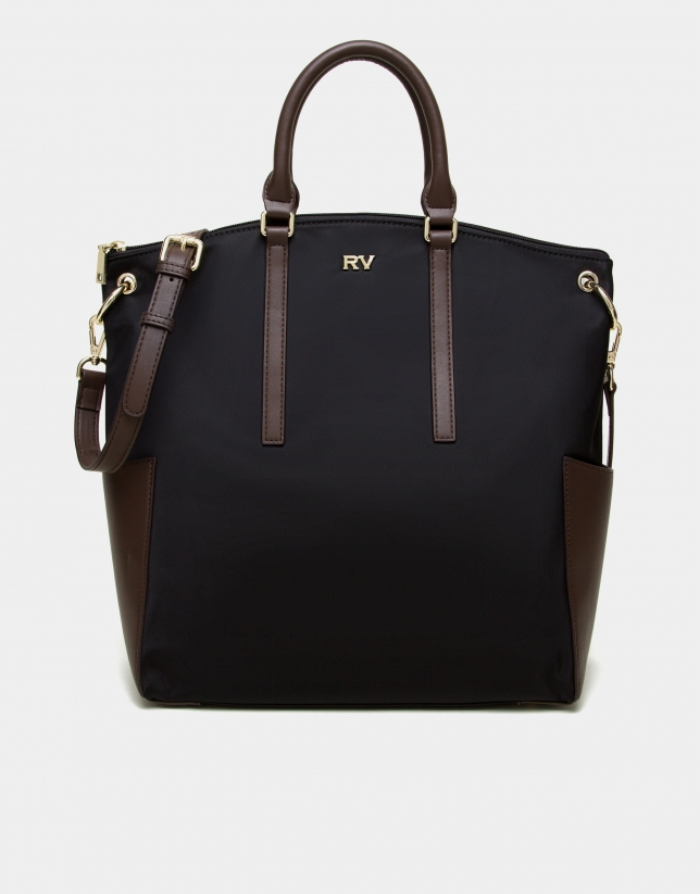Black nylon tote bag