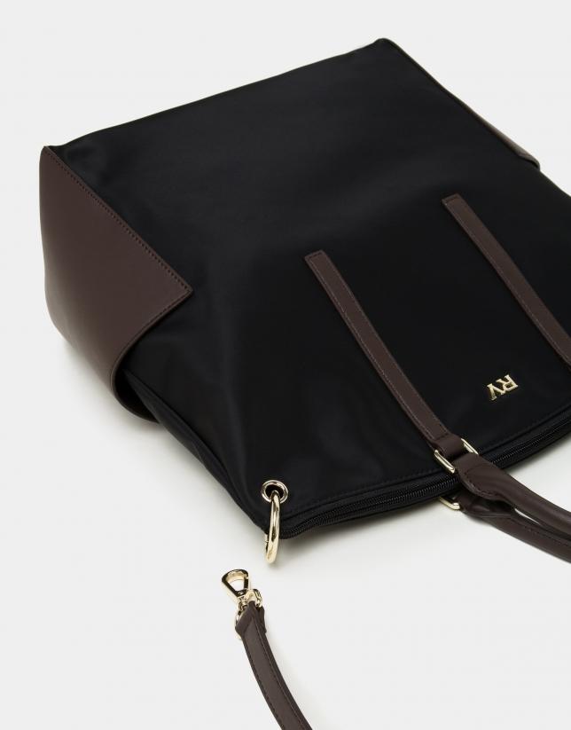 Black nylon tote bag