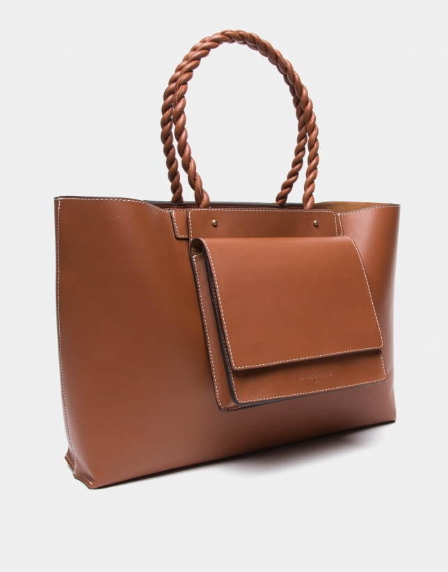 Garden leather tote bag