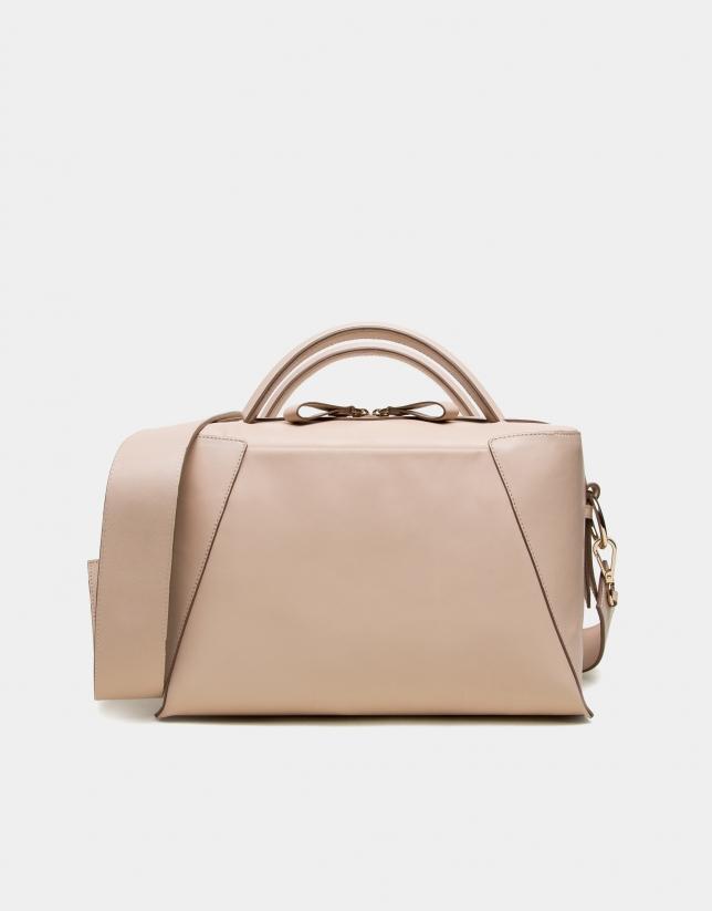 Ivory napa leather Tetris shopping bag