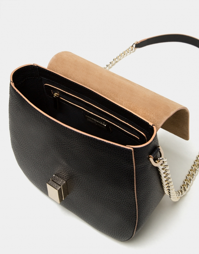 Black split  leather Gazel shoulder bag